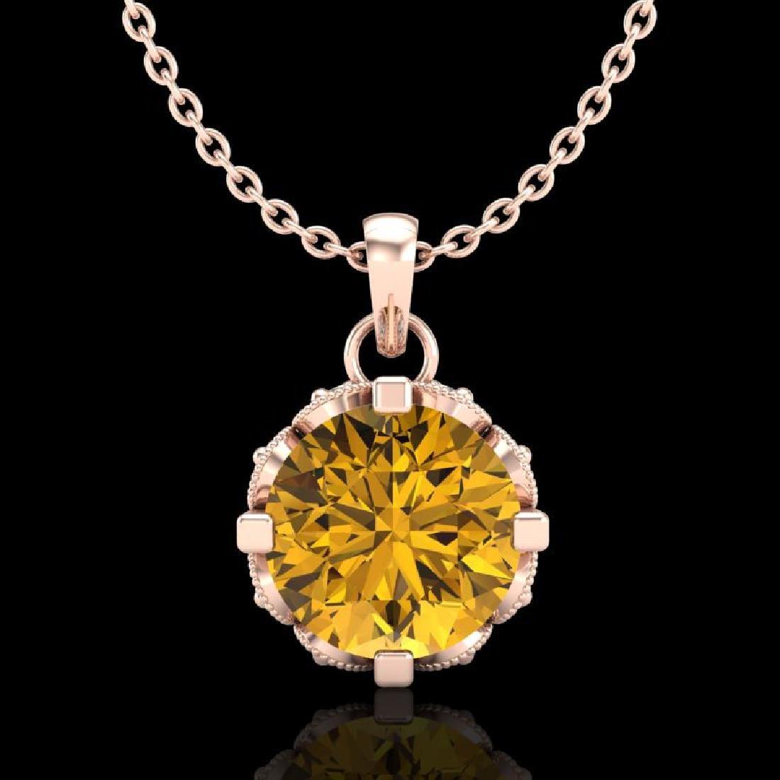 1.14 CTW Intense Fancy Yellow Diamond Art Deco Stud