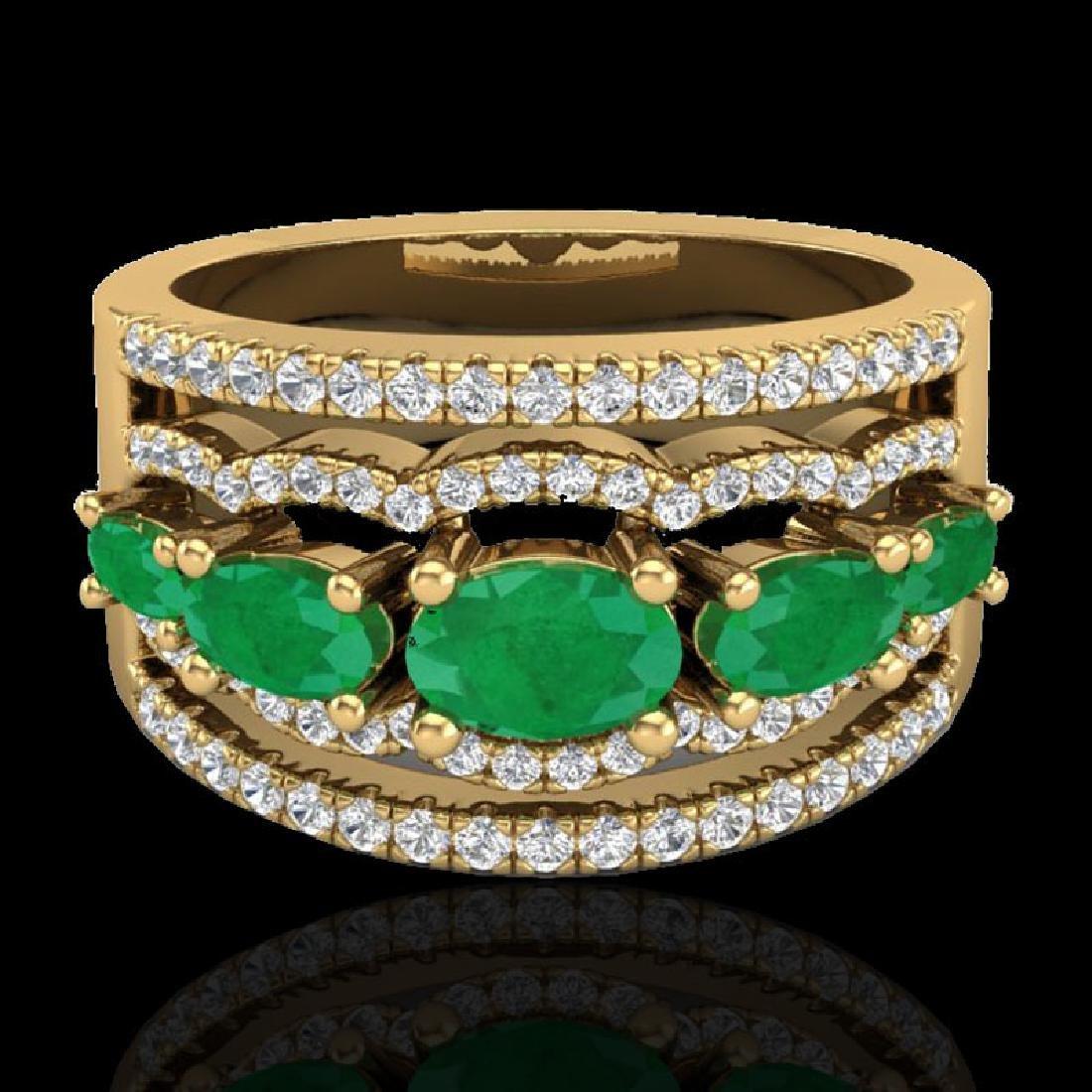 2.25 CTW Emerald & Micro Pave VS/SI Diamond Designer