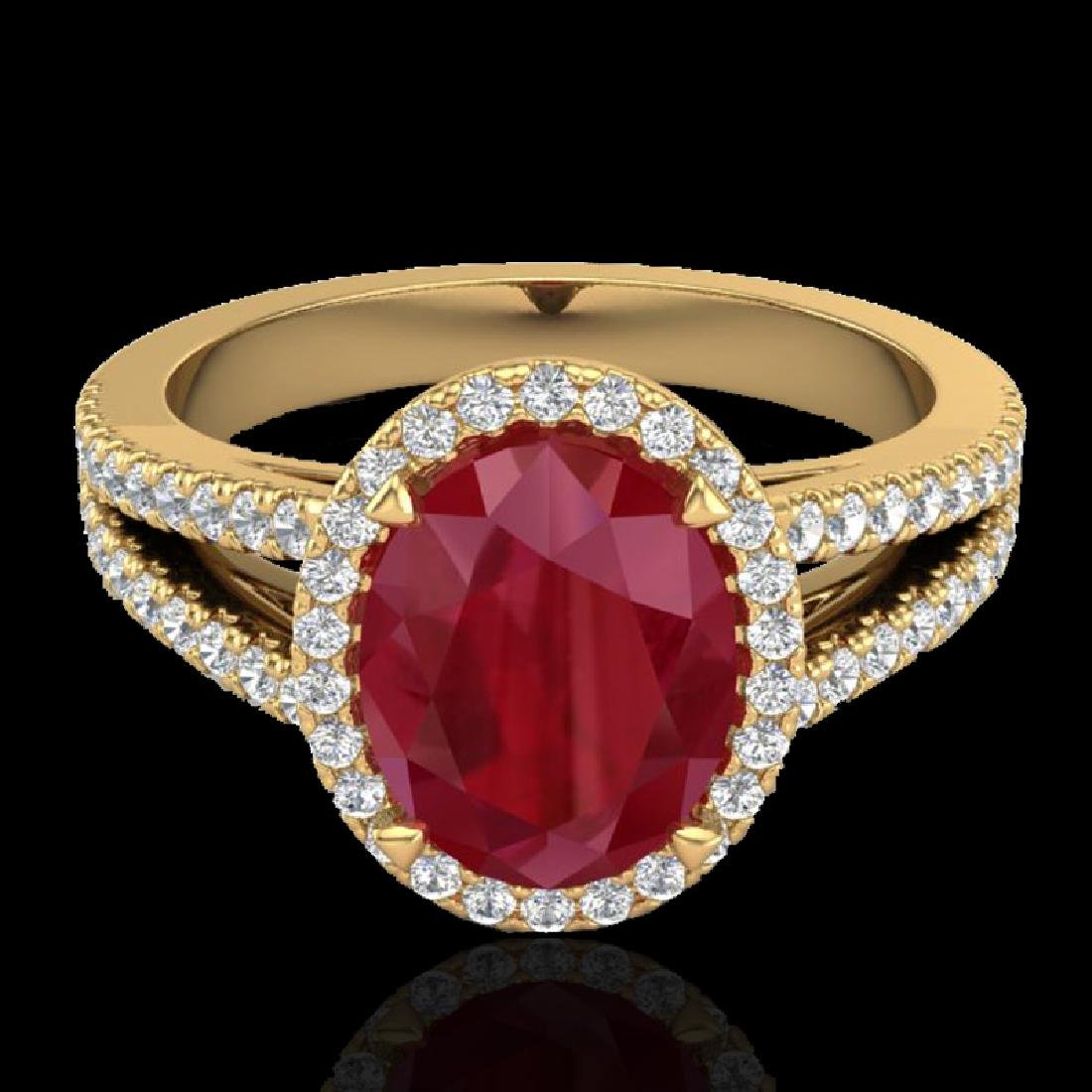 3 CTW Ruby & Micro Pave VS/SI Diamond Halo Solitaire