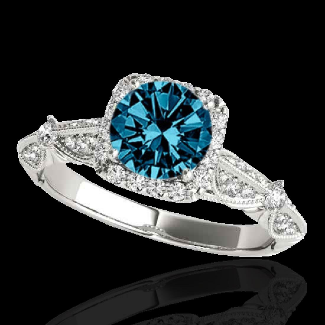 1.36 CTW SI Certified Fancy Blue Diamond Solitaire Halo