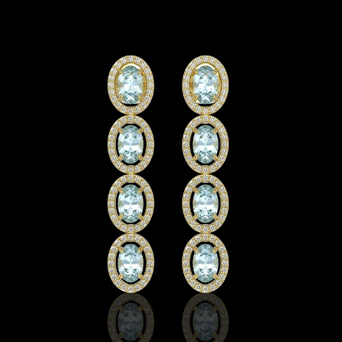 4.68 CTW Aquamarine & Diamond Halo Earrings 10K Yellow