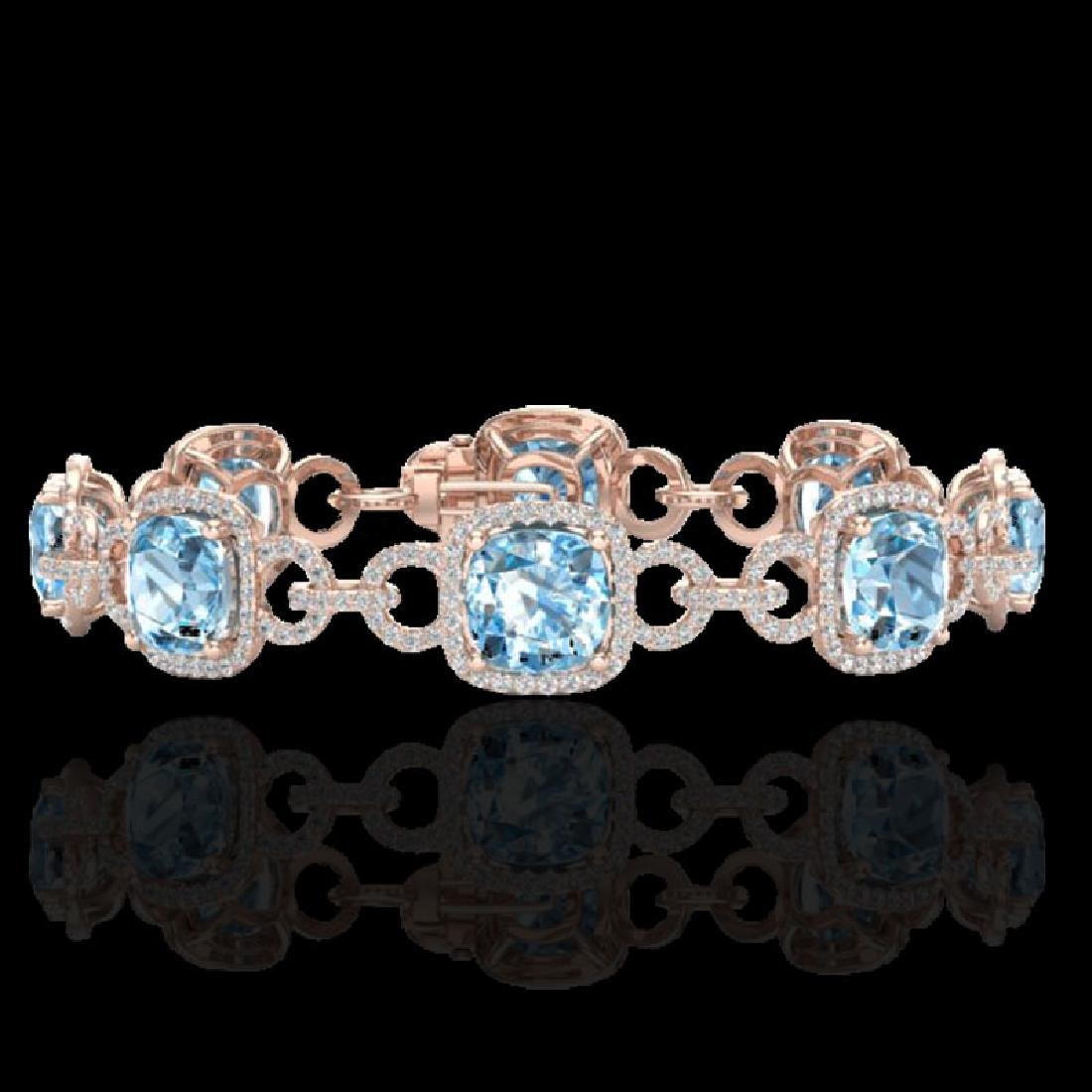 30 CTW Topaz & Micro VS/SI Diamond Bracelet 14K Rose