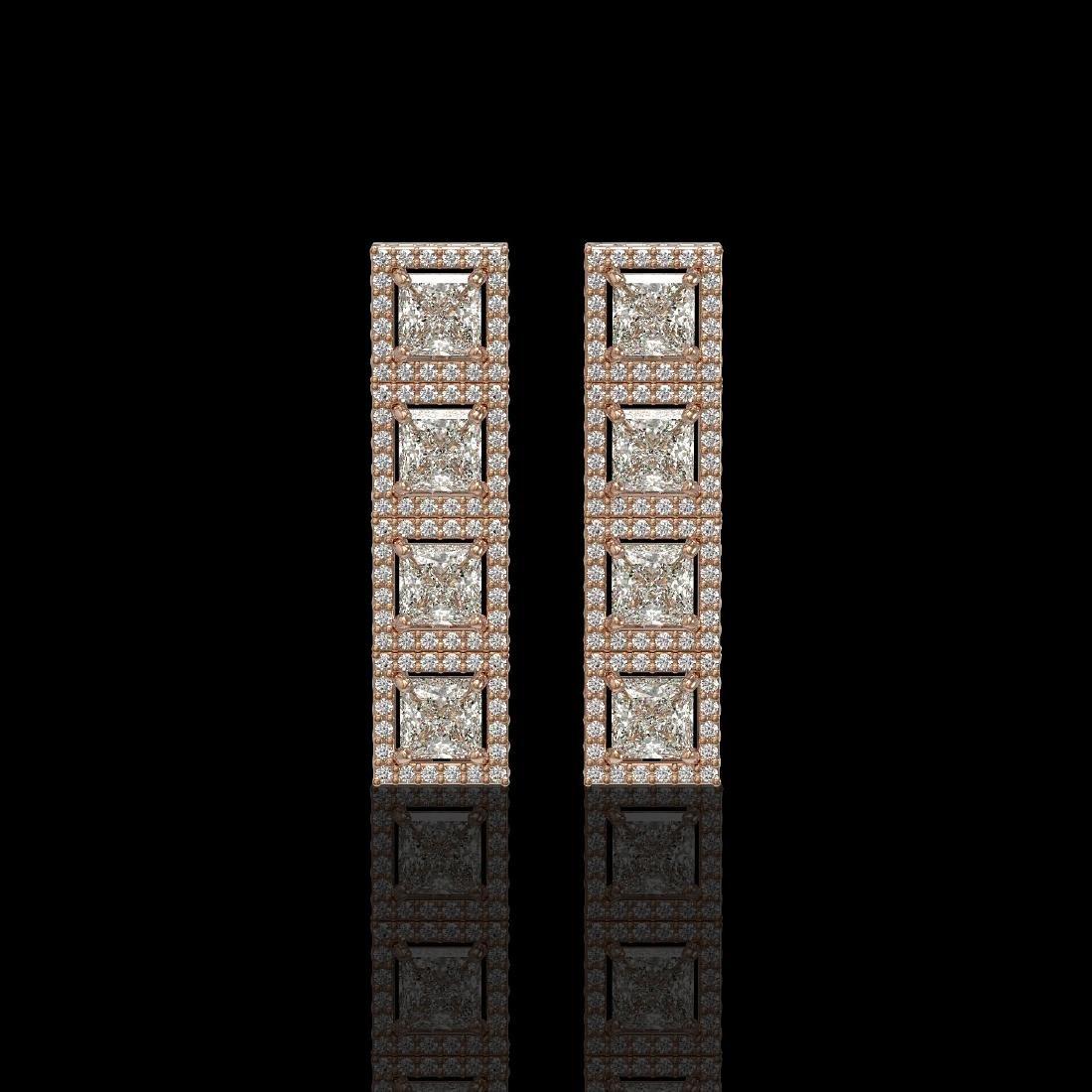 5.31 CTW Princess Diamond Designer Earrings 18K Rose