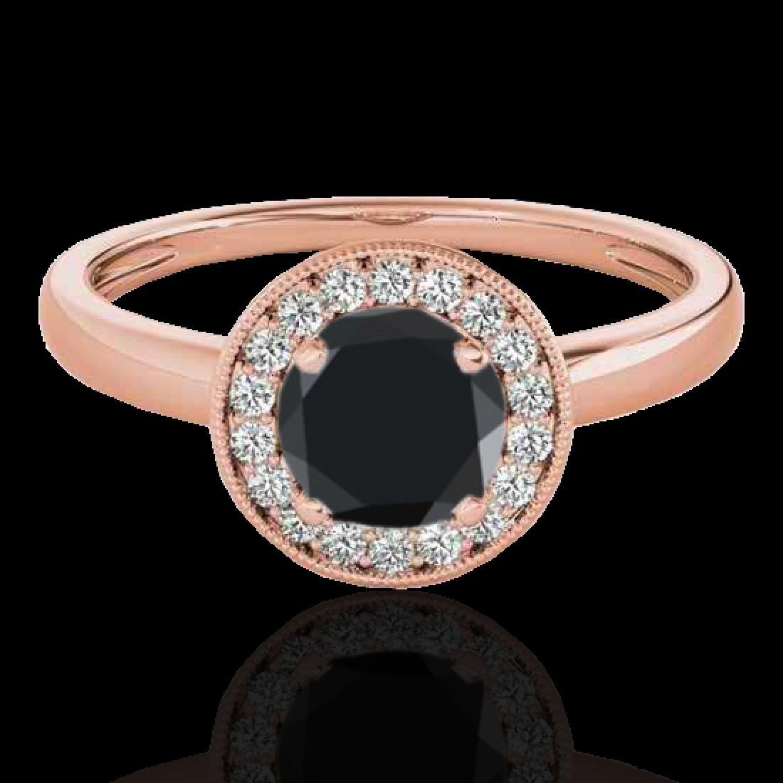 1.15 CTW Certified VS Black Diamond Solitaire Halo Ring