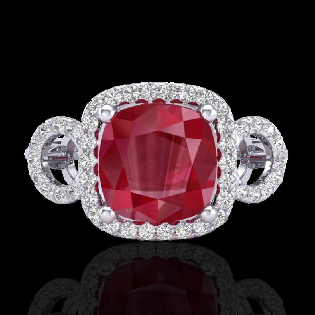 3.15 CTW Ruby & Micro VS/SI Diamond Ring 18K White Gold