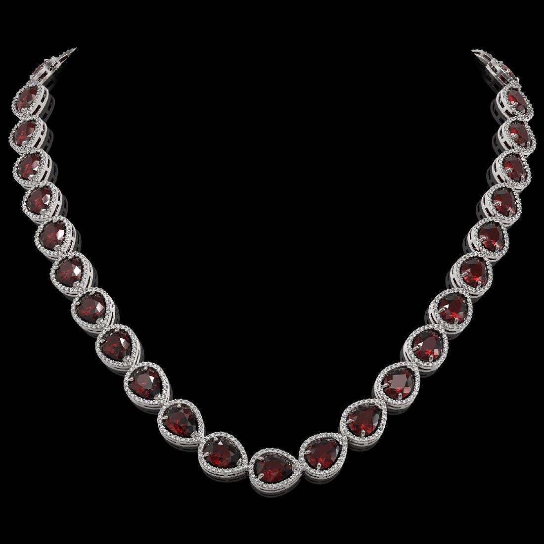 36.8 CTW Garnet & Diamond Halo Necklace 10K White Gold