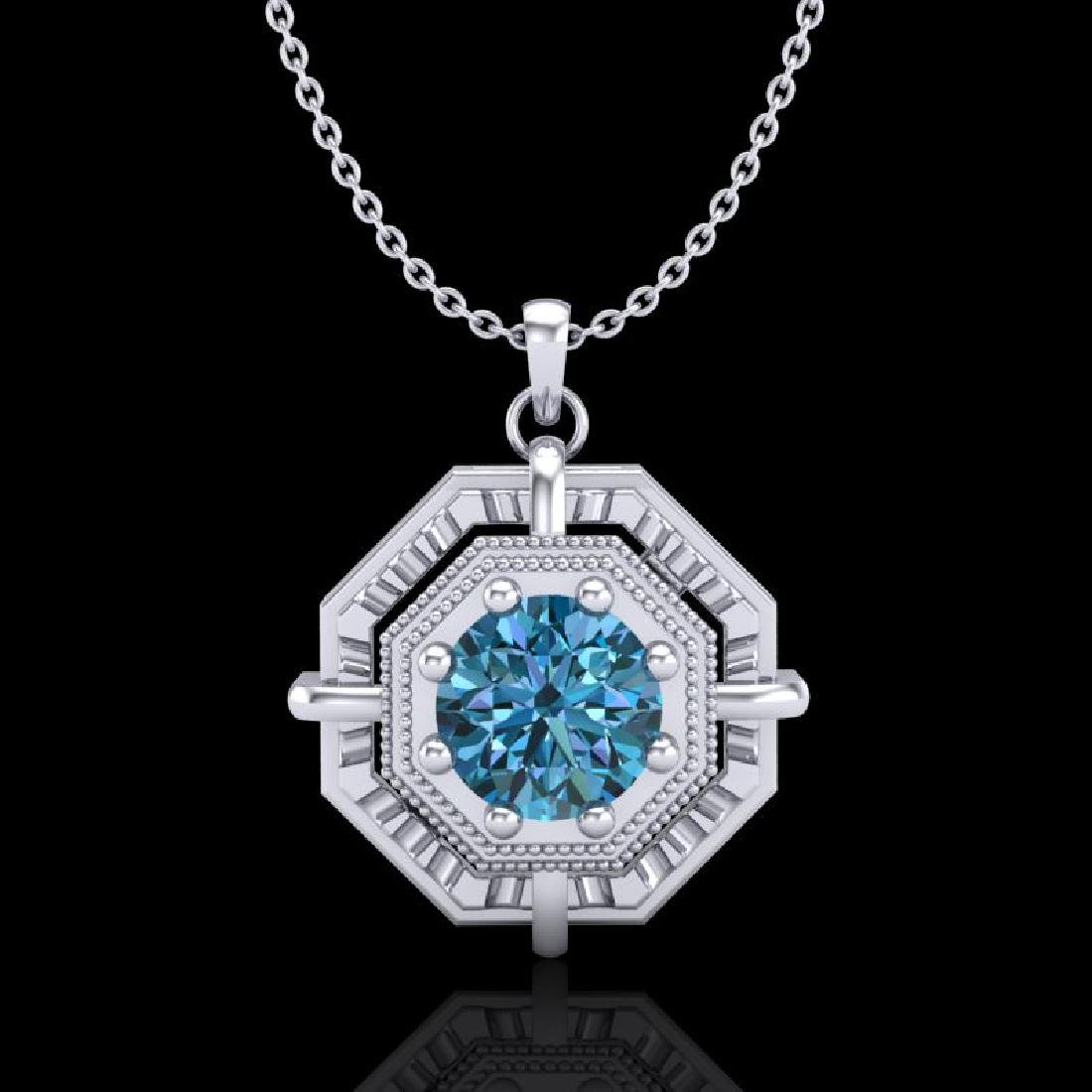 0.75 CTW Fancy Intense Blue Diamond Solitaire Art Deco