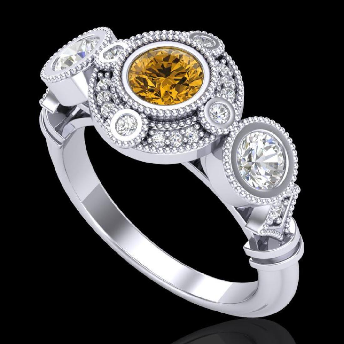 1.51 CTW Intense Fancy Yellow Diamond Art Deco 3 Stone