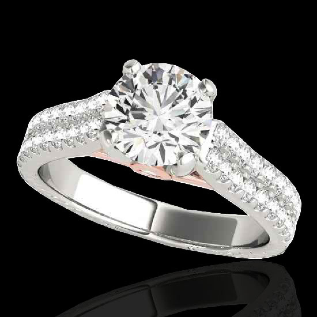 1.61 CTW H-SI/I Certified Diamond Pave Ring 10K White &