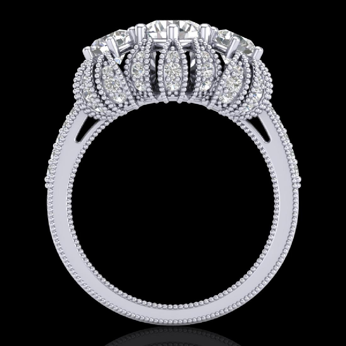 2.26 CTW VS/SI Diamond Art Deco Micro Pave 3 Stone Ring