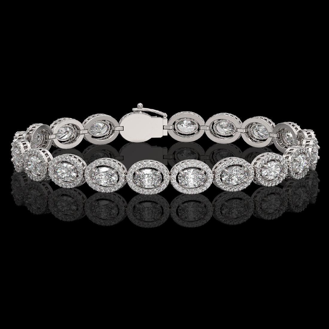 13.25 CTW Oval Diamond Designer Bracelet 18K White Gold