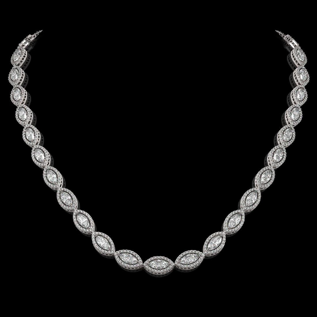 24.42 CTW Marquise Diamond Designer Necklace 18K White