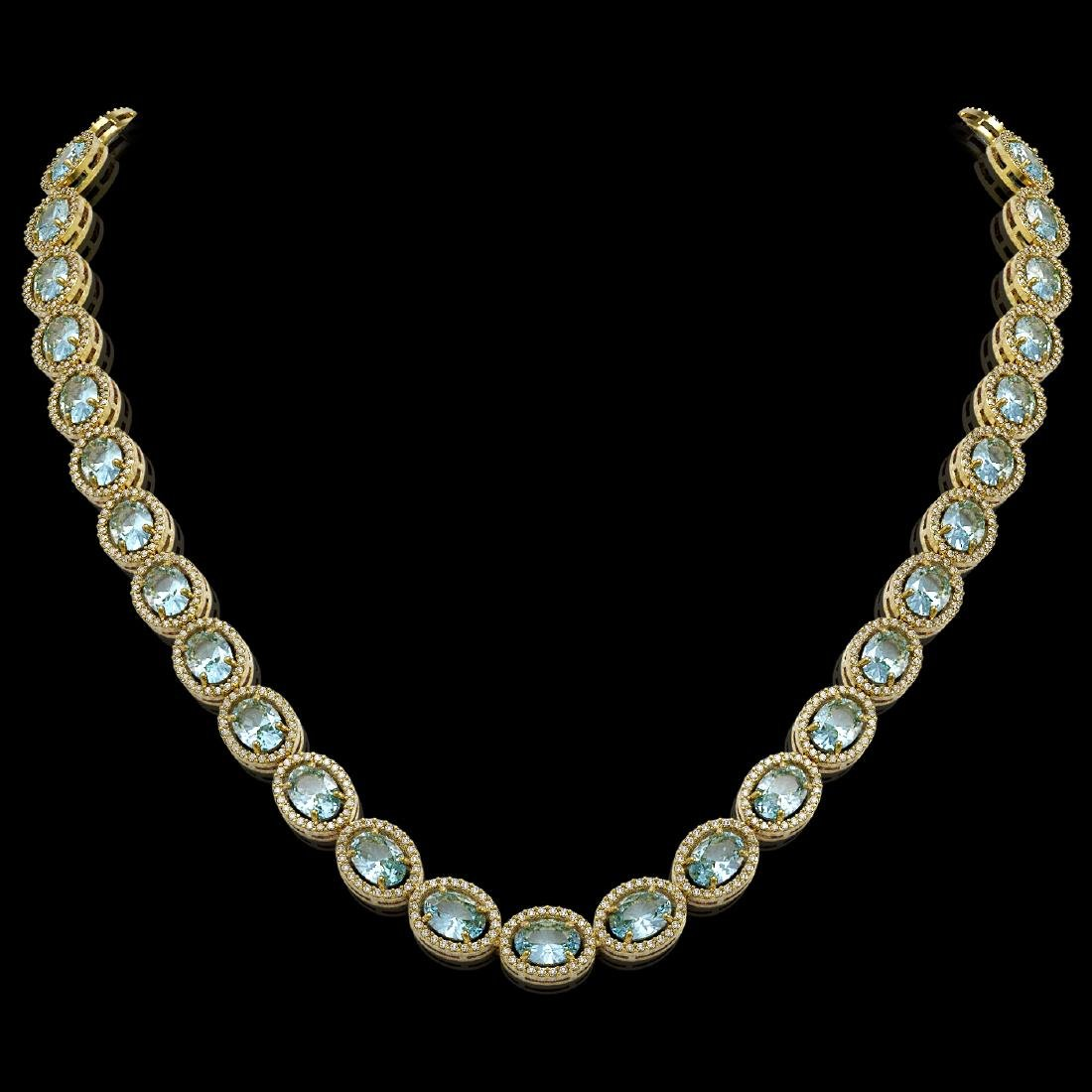 41.88 CTW Aquamarine & Diamond Halo Necklace 10K Yellow