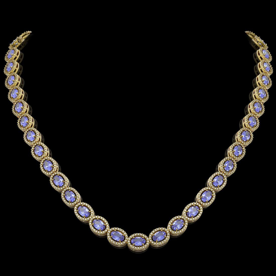 31.96 CTW Tanzanite & Diamond Halo Necklace 10K Yellow