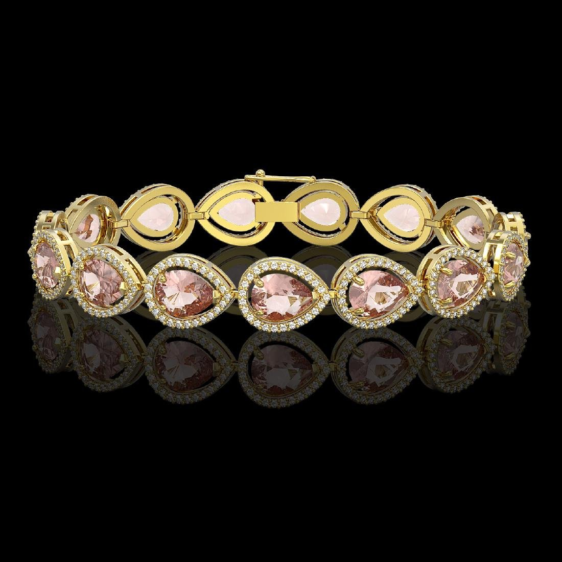 19.55 CTW Morganite & Diamond Halo Bracelet 10K Yellow
