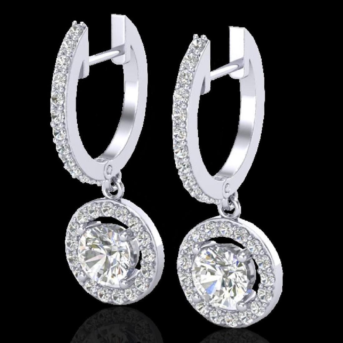 1.75 CTW Micro Pave Halo VS/SI Diamond Earrings 18K