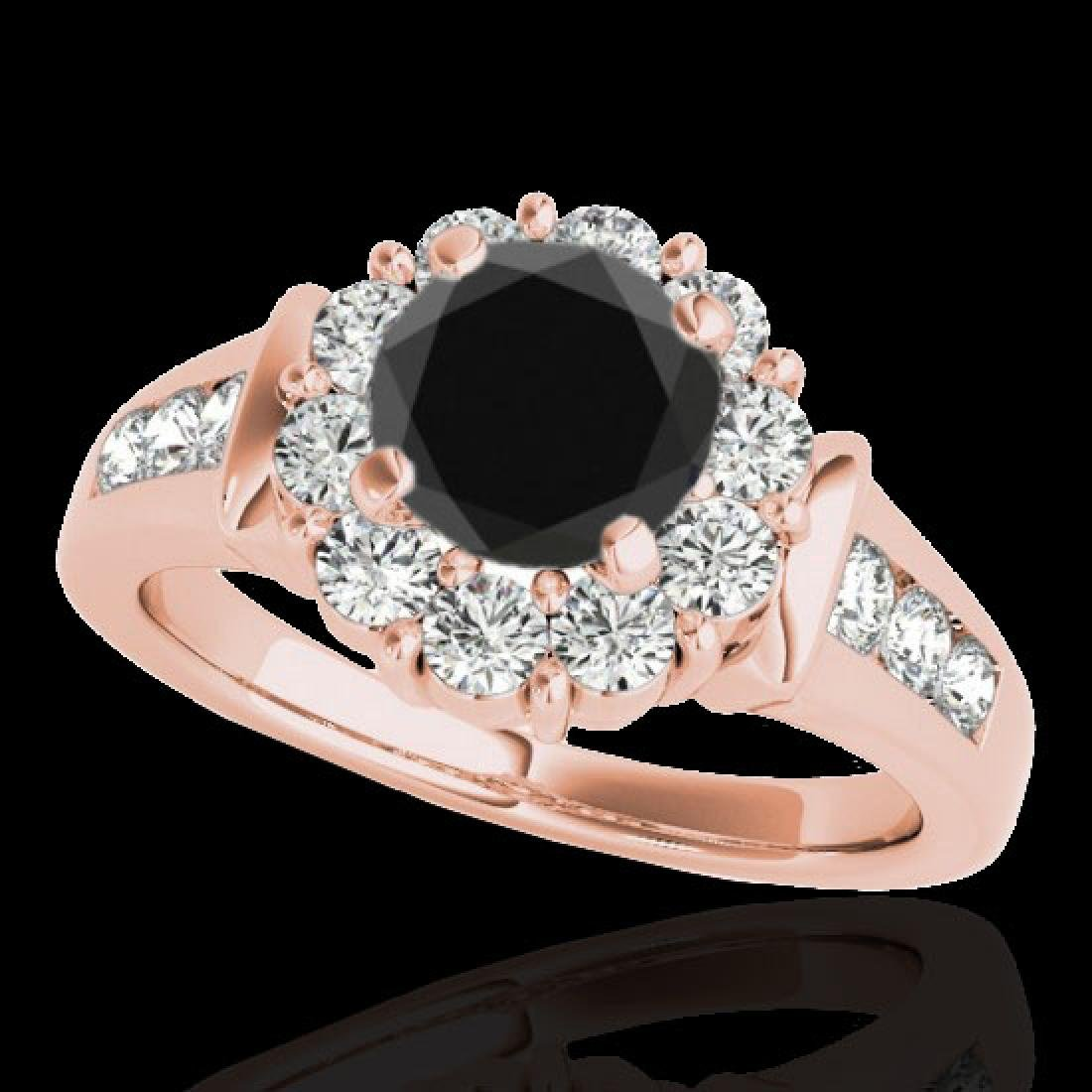 1.9 CTW Certified VS Black Diamond Solitaire Halo Ring