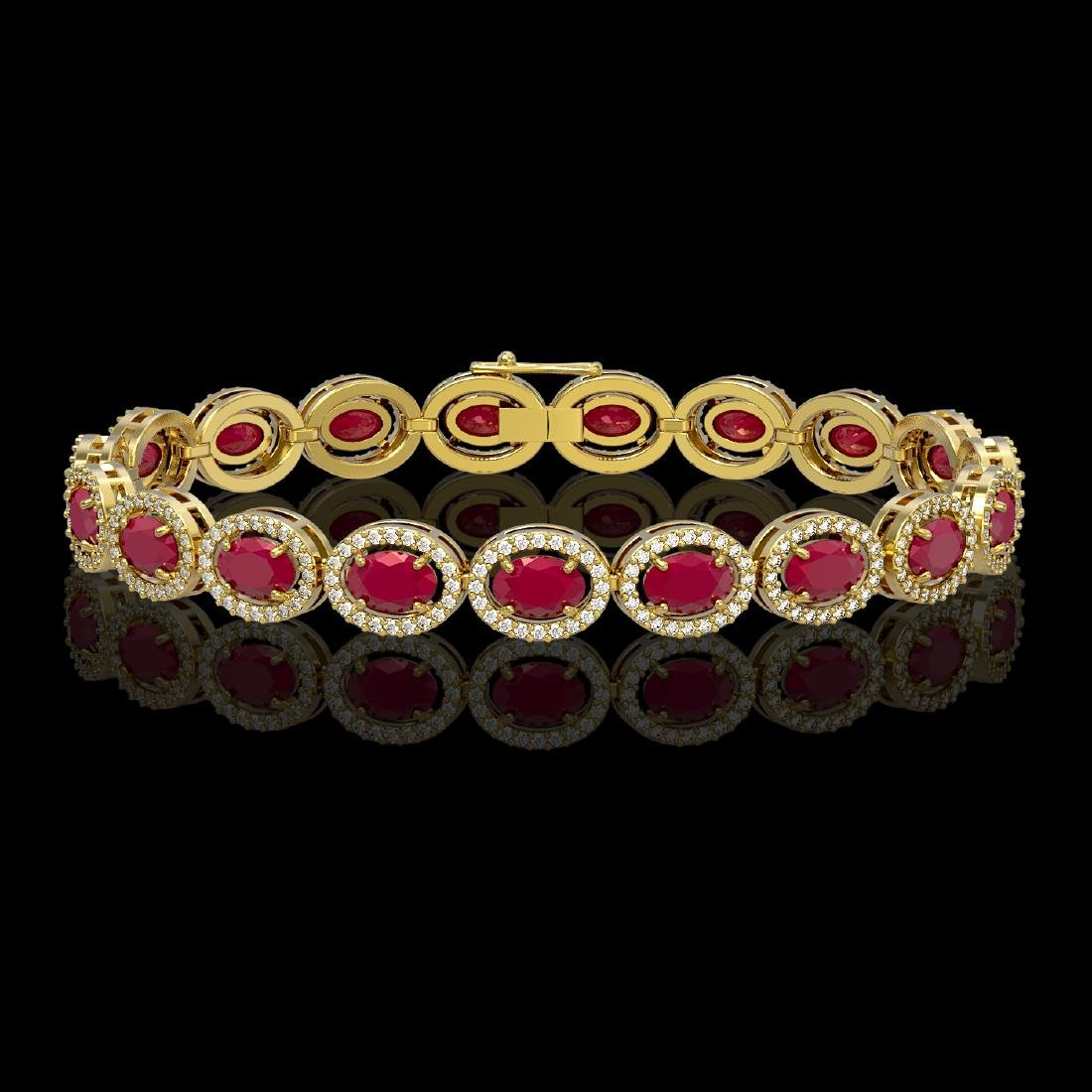 15.2 CTW Ruby & Diamond Halo Bracelet 10K Yellow Gold