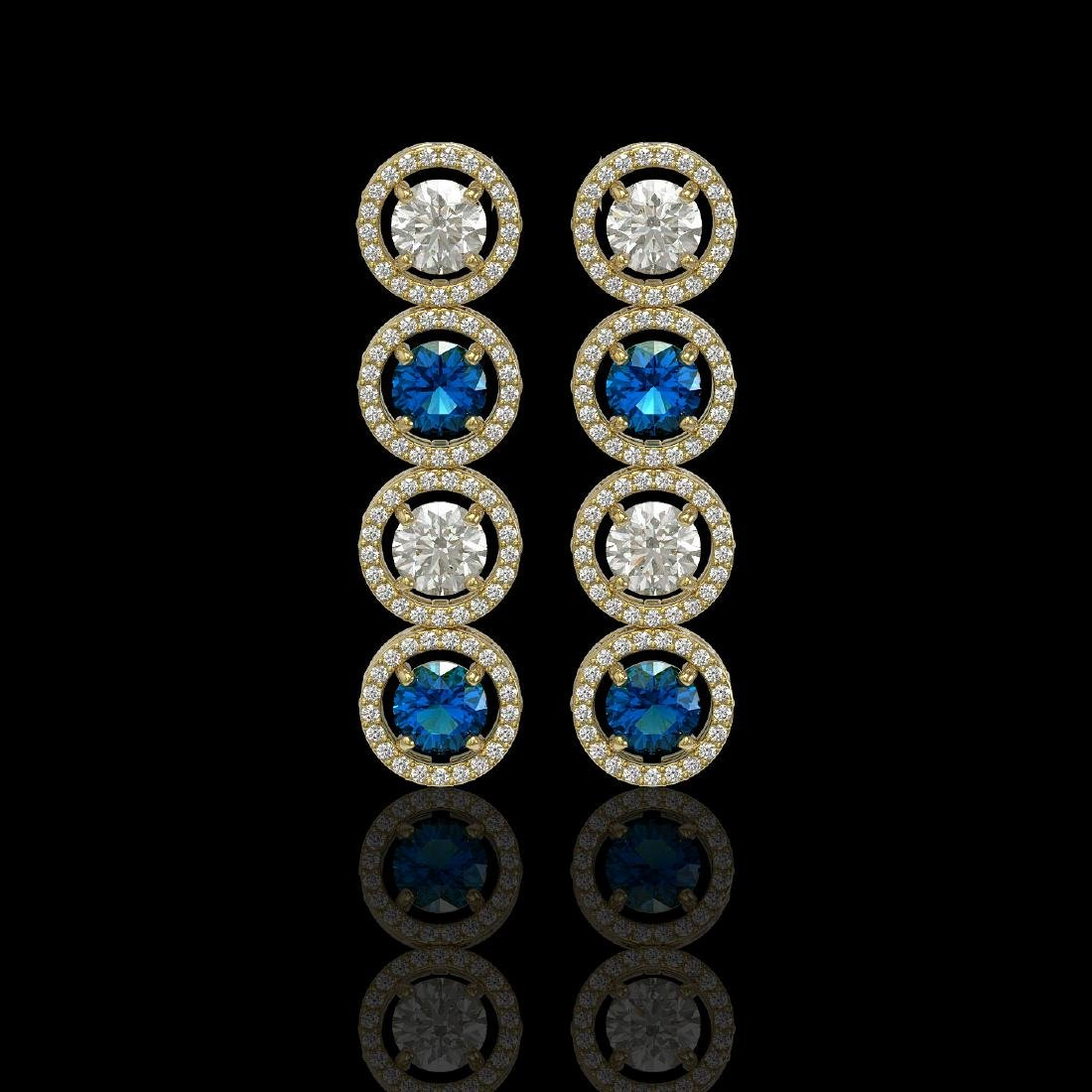 5.42 CTW Blue & White Diamond Designer Earrings 18K