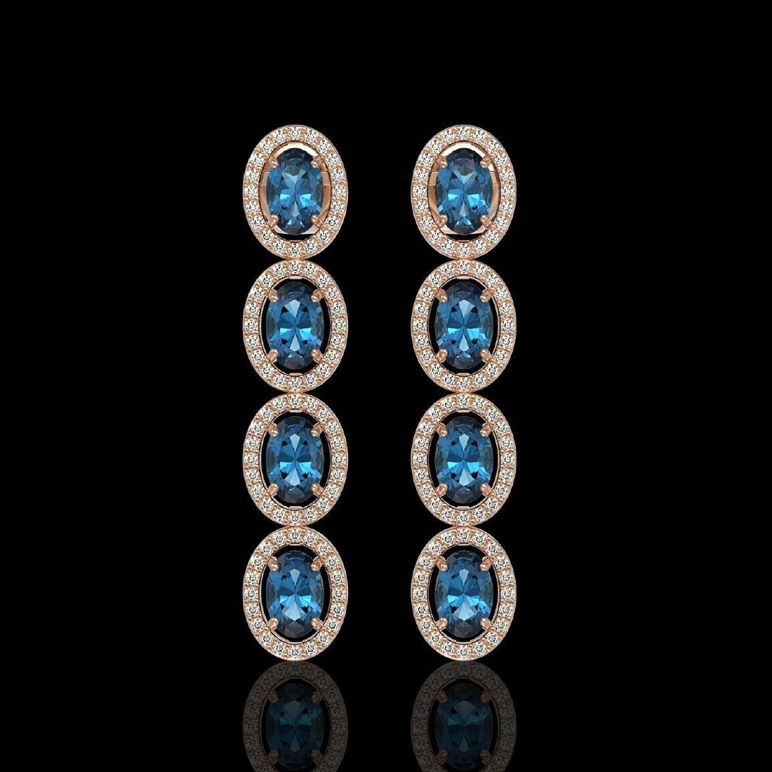 6.28 CTW London Topaz & Diamond Halo Earrings 10K Rose