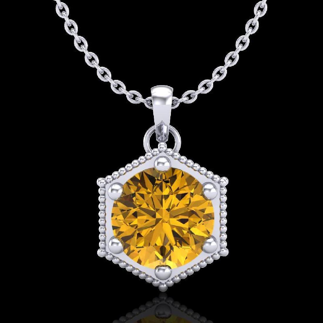 0.82 CTW Intense Fancy Yellow Diamond Art Deco Stud