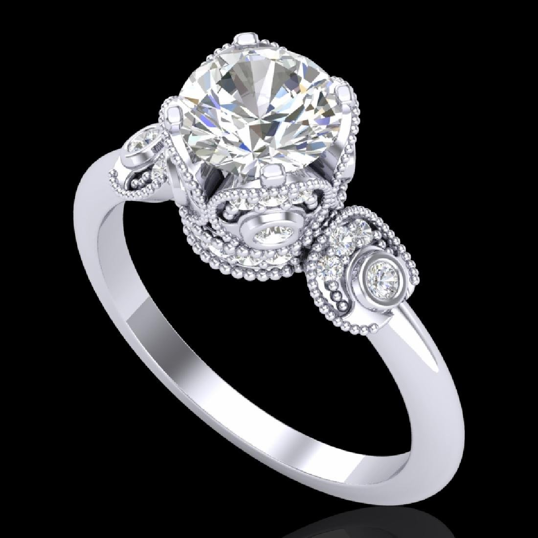 1.75 CTW VS/SI Diamond Art Deco Ring 18K White Gold