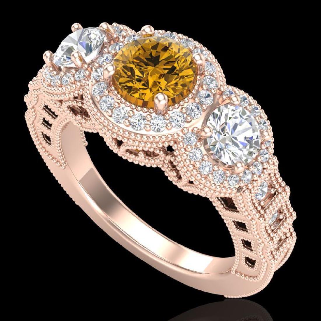 2.16 CTW Intense Fancy Yellow Diamond Art Deco 3 Stone