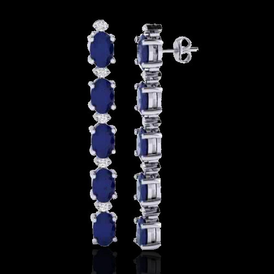 7 CTW Sapphire & VS/SI Diamond Tennis Earrings 10K - 2