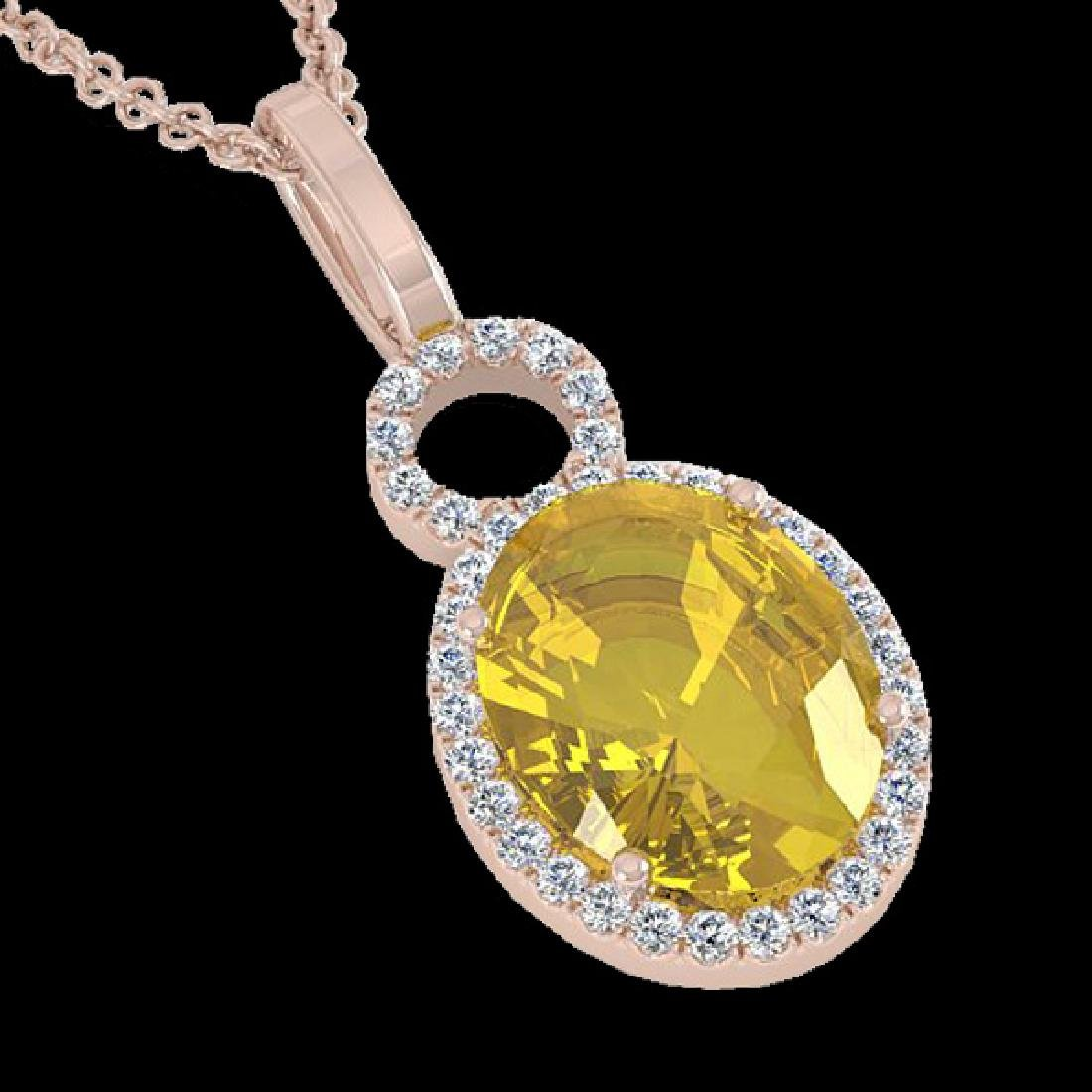3 CTW Citrine & Micro Pave Solitaire Halo VS/SI Diamond