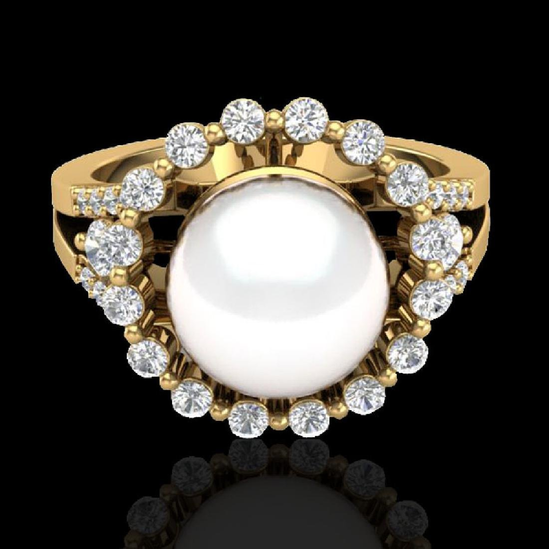 0.83 Ct Micro Pave VS/SI Diamond & Pearl Halo Ring 18K
