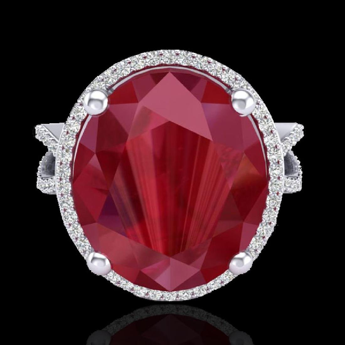 12 CTW Ruby & Micro Pave VS/SI Diamond Halo Ring 18K