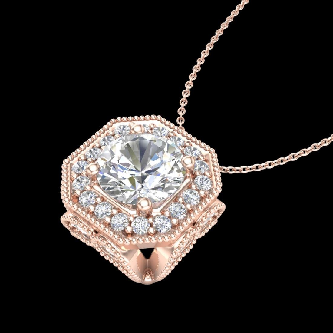 1.54 CTW VS/SI Diamond Solitaire Art Deco Necklace 18K