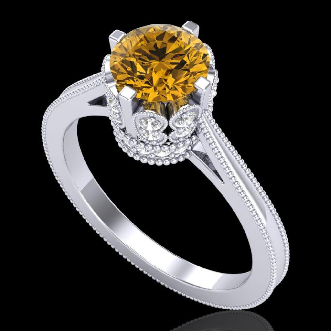 1.5 CTW Intense Fancy Yellow Diamond Engagement Art