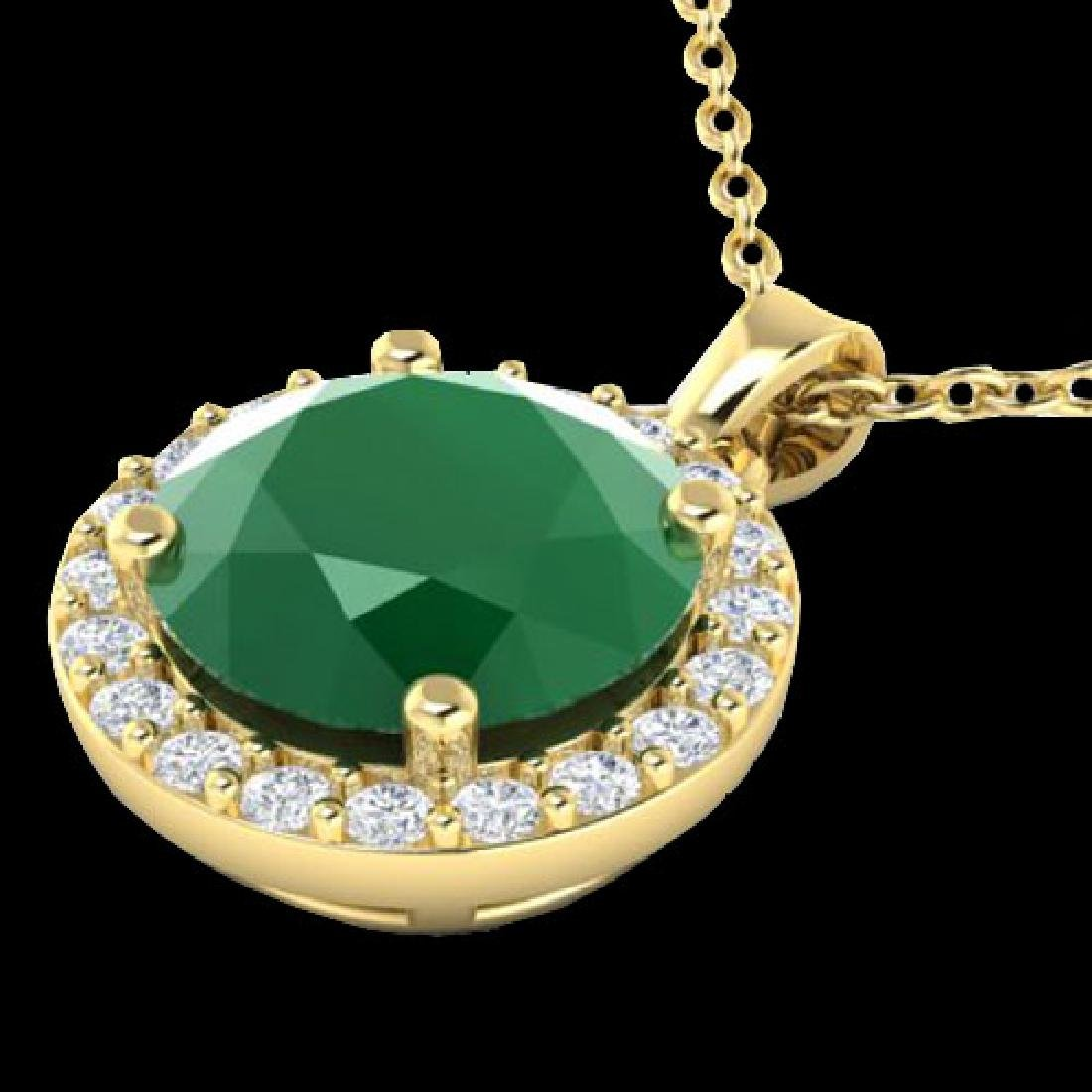 2 CTW Emerald & Halo VS/SI Diamond Micro Pave Necklace