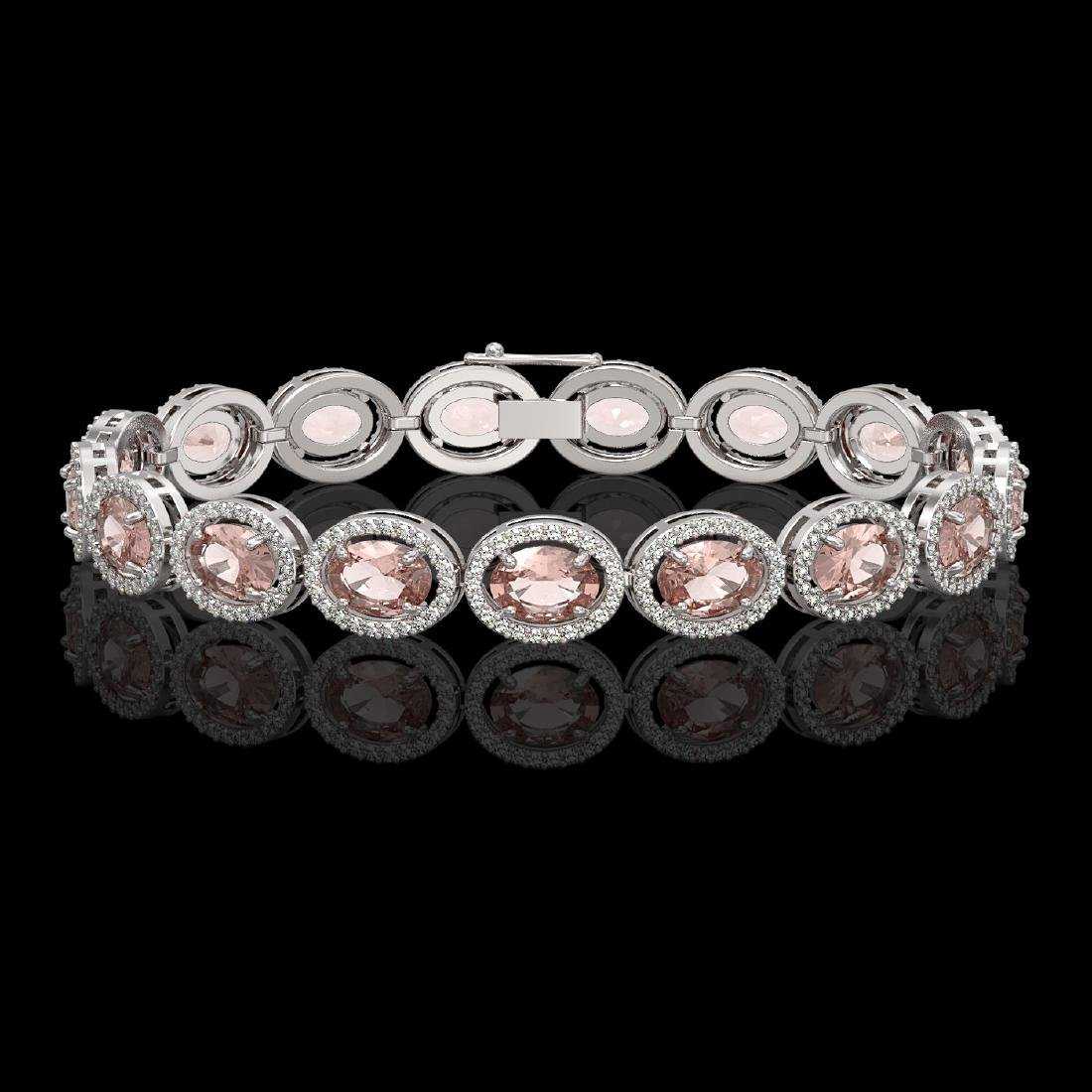 20.18 CTW Morganite & Diamond Halo Bracelet 10K White