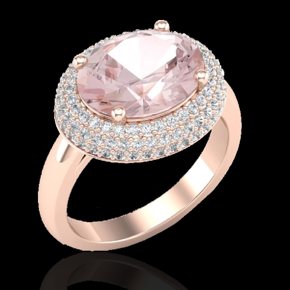 4.50 CTW Morganite & Micro Pave VS/SI Diamond Ring 14K