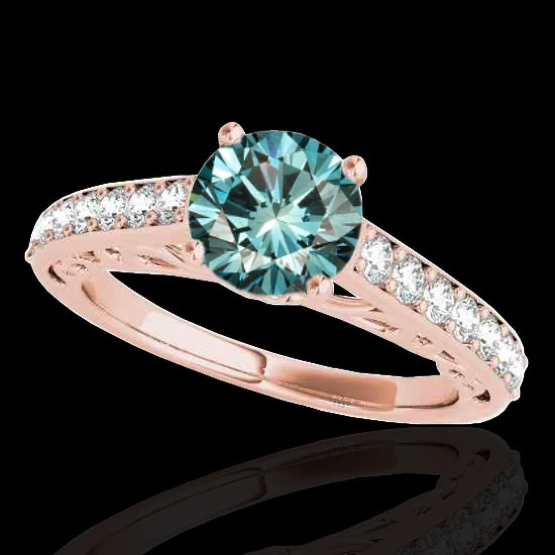 1.4 CTW SI Certified Fancy Blue Diamond Solitaire Ring