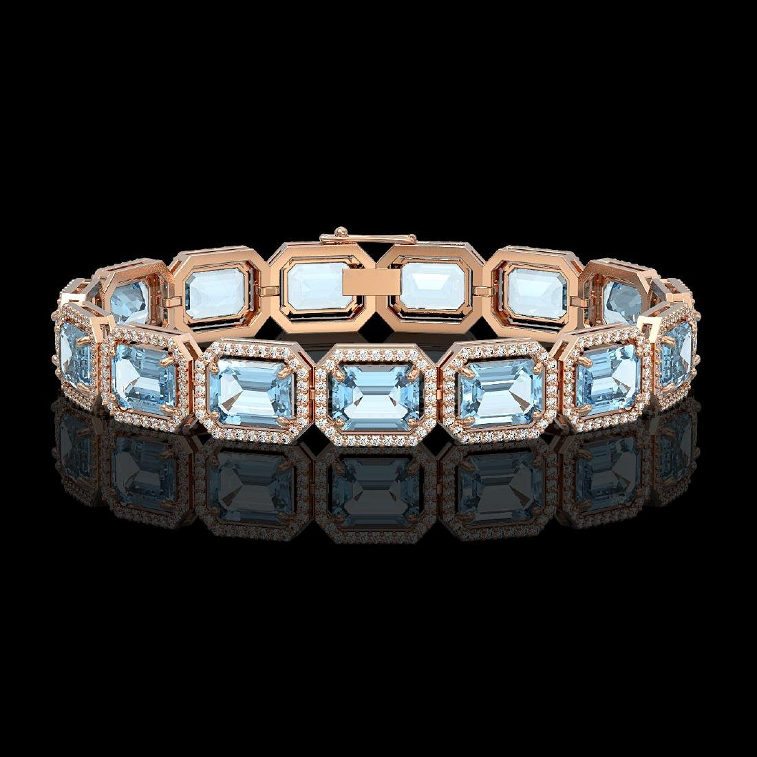 36.81 CTW Aquamarine & Diamond Halo Bracelet 10K Rose