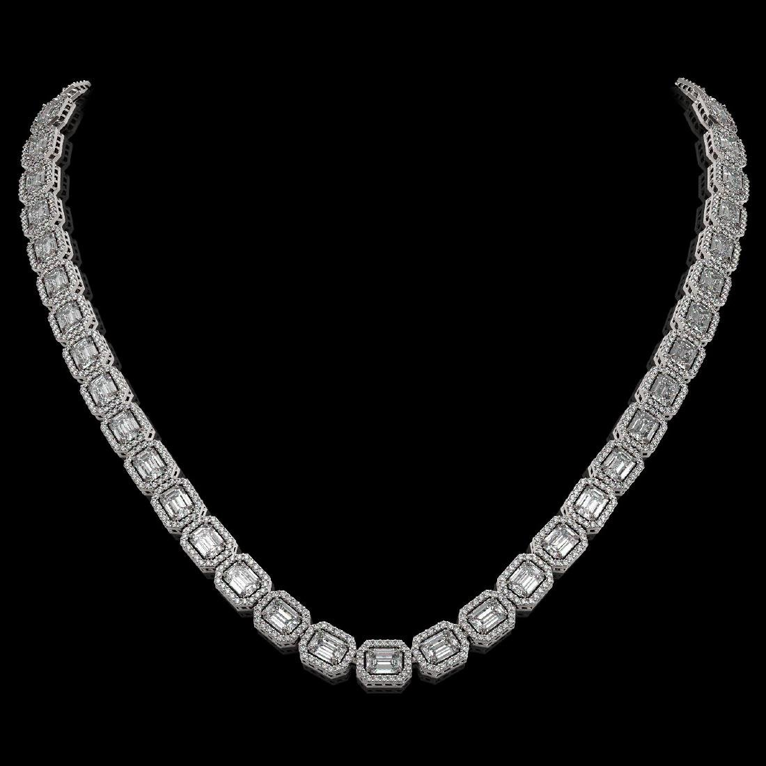 33.10 CTW Emerald Cut Diamond Designer Necklace 18K