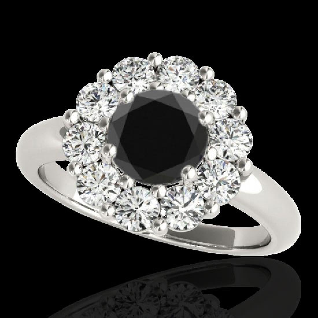 2.85 CTW Certified VS Black Diamond Solitaire Halo Ring