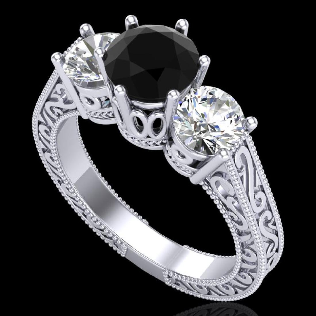 2.01 CTW Fancy Black Diamond Solitaire Art Deco 3 Stone
