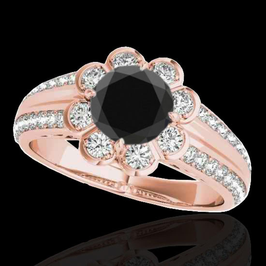 2.05 2.05 CTW Certified VS Black Diamond Solitaire Halo
