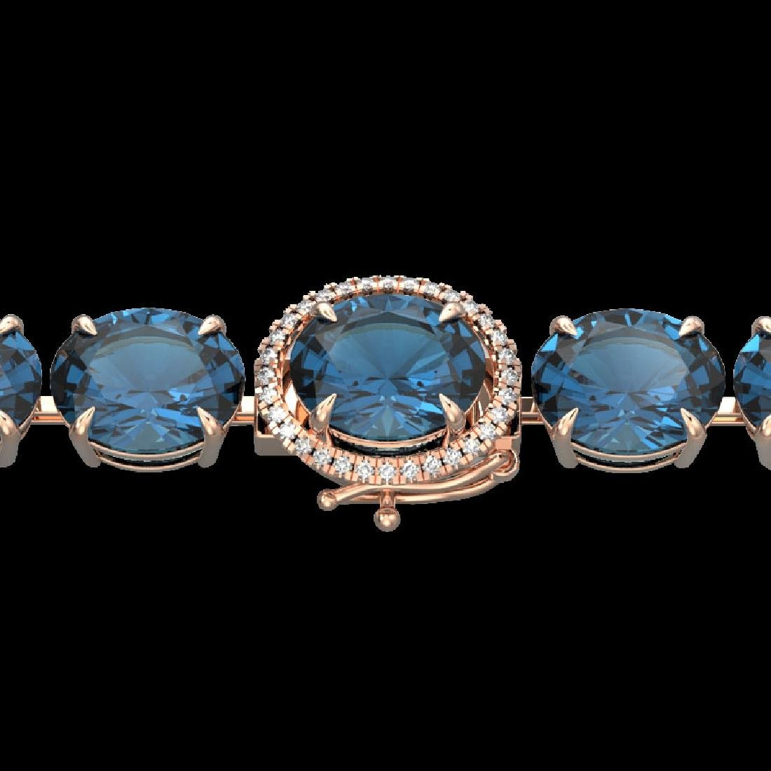 79 CTW London Blue Topaz & Micro VS/SI Diamond Halo