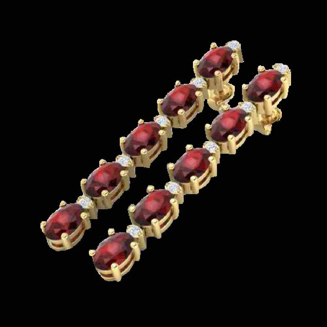 6 CTW Garnet & VS/SI Diamond Tennis Earrings 10K Yellow