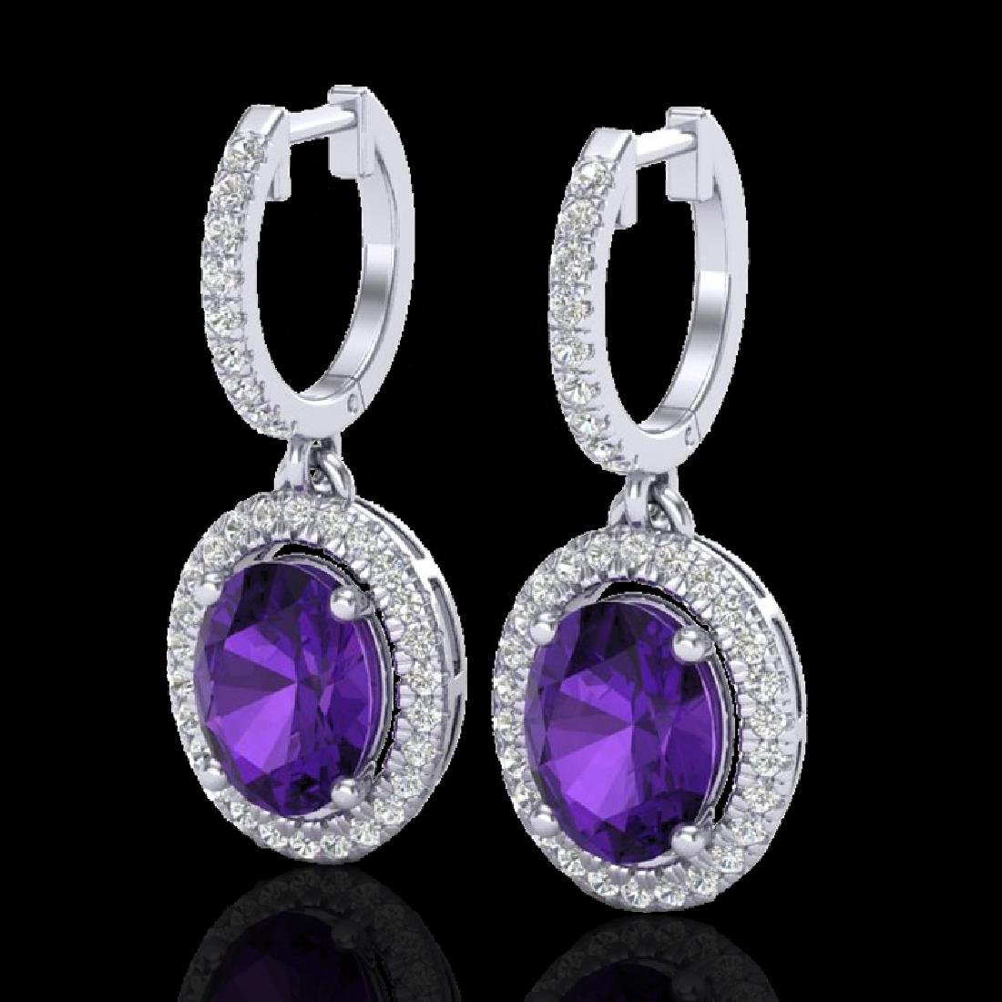 3.50 CTW Amethyst & Micro Pave VS/SI Diamond Earrings