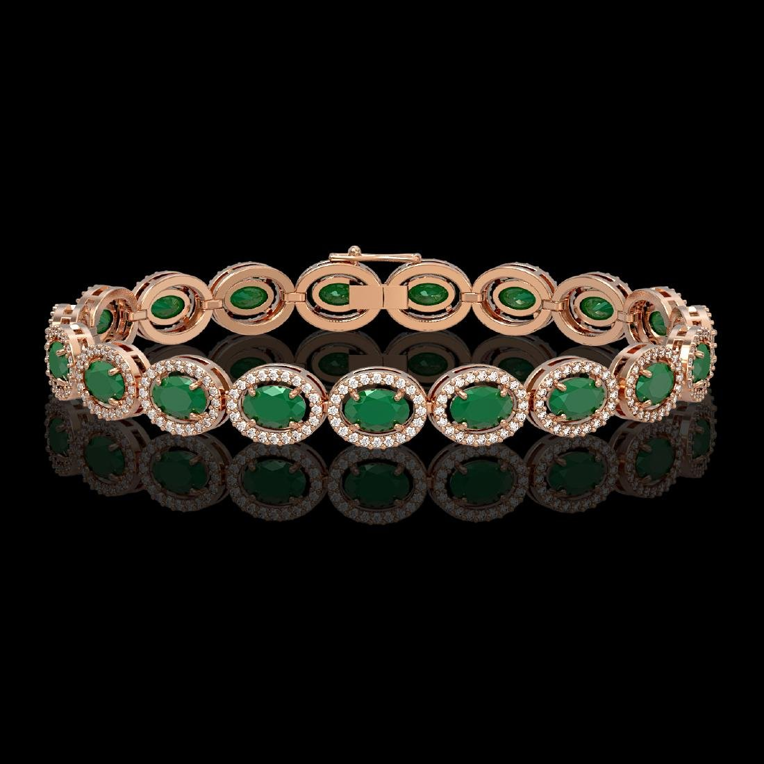 15.2 CTW Emerald & Diamond Halo Bracelet 10K Rose Gold