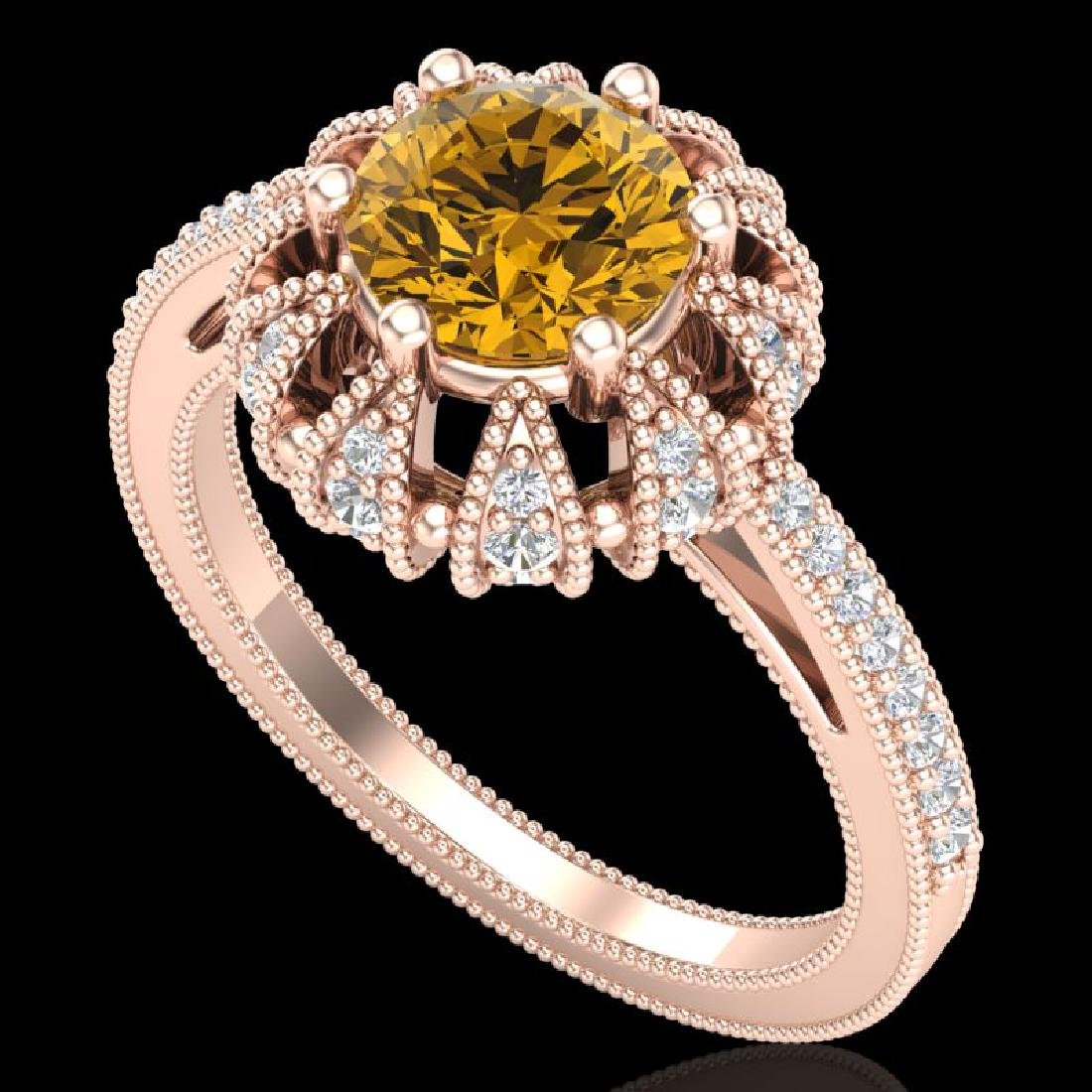 1.65 CTW Intense Fancy Yellow Diamond Engagement Art