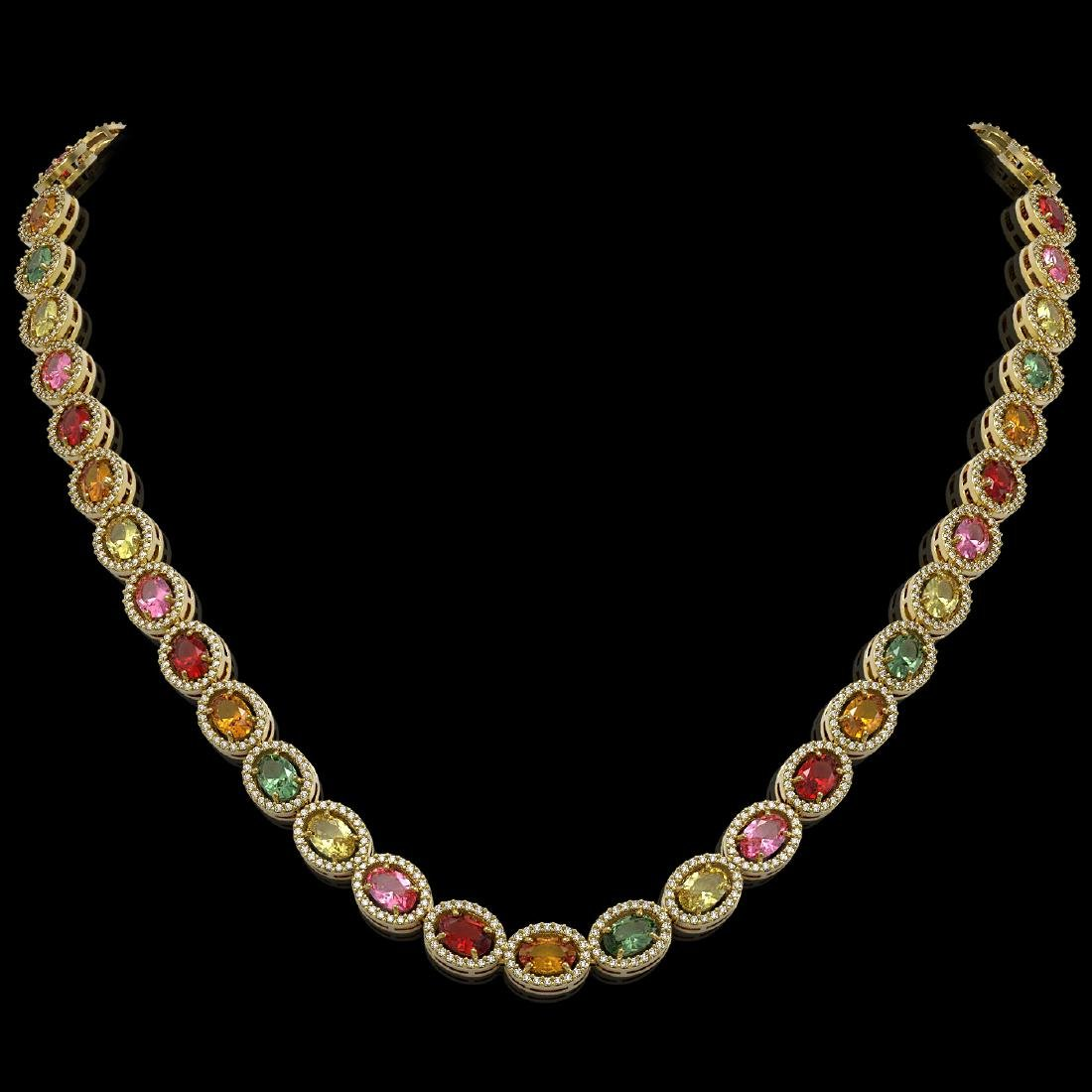 31.96 CTW Multi Color Sapphire & Diamond Halo Necklace