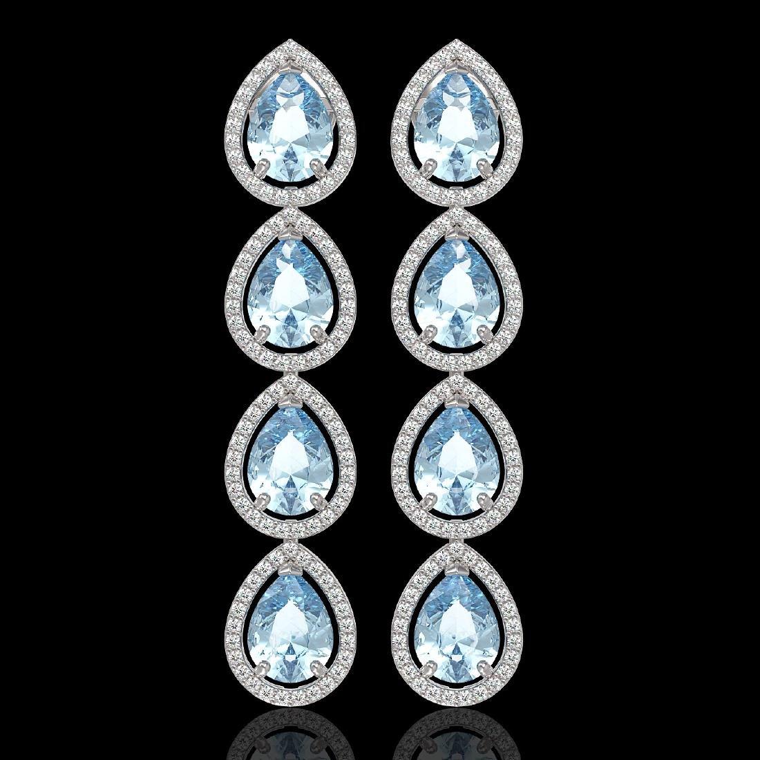 10.4 CTW Sky Topaz & Diamond Halo Earrings 10K White