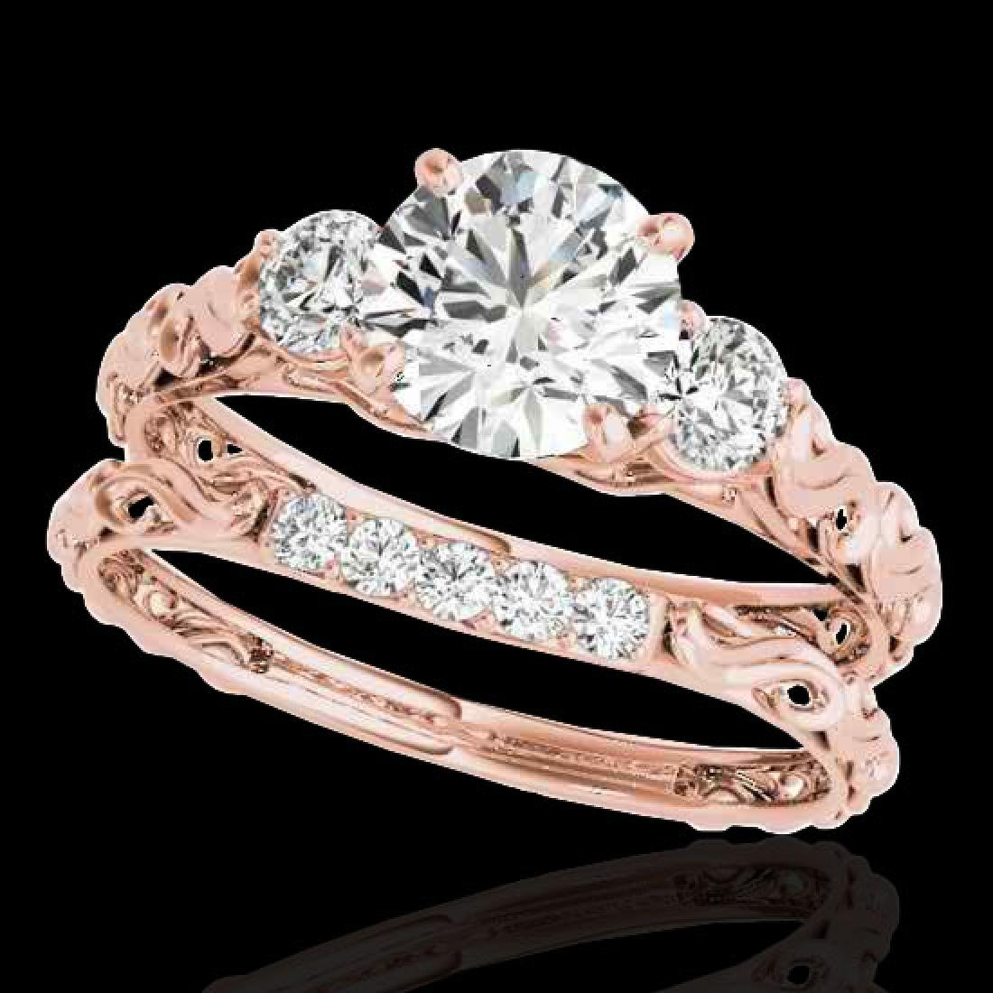 1.35 CTW H-SI/I Certified Diamond 3 Stone Ring 10K Rose
